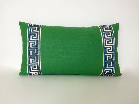 Kelly Green Linen Lumbar with Navy Greek Key Trim