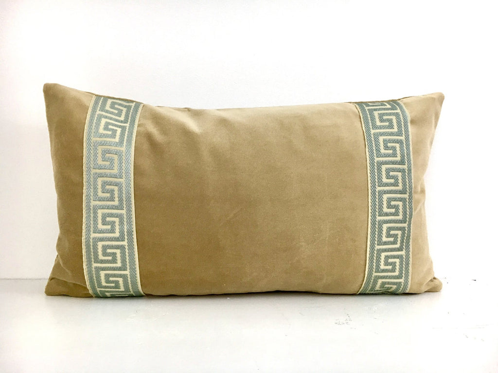 Tan Velvet with Mist Greek Key Trim