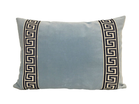 Light Blue Velvet Lumbar with Navy Greek Key Trim