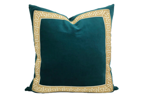 Teal Pillow with Gold Greek Key Trim