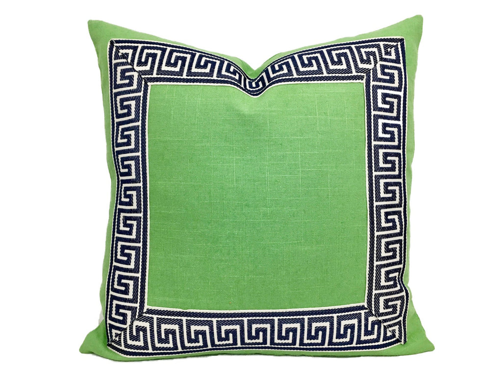Green Linen Pillow with Navy and White Greek Key Trim