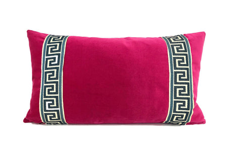 Fuchsia Velvet with Navy Greek Key Trim