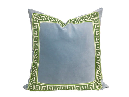 Light Blue Velvet Pillow with Tape