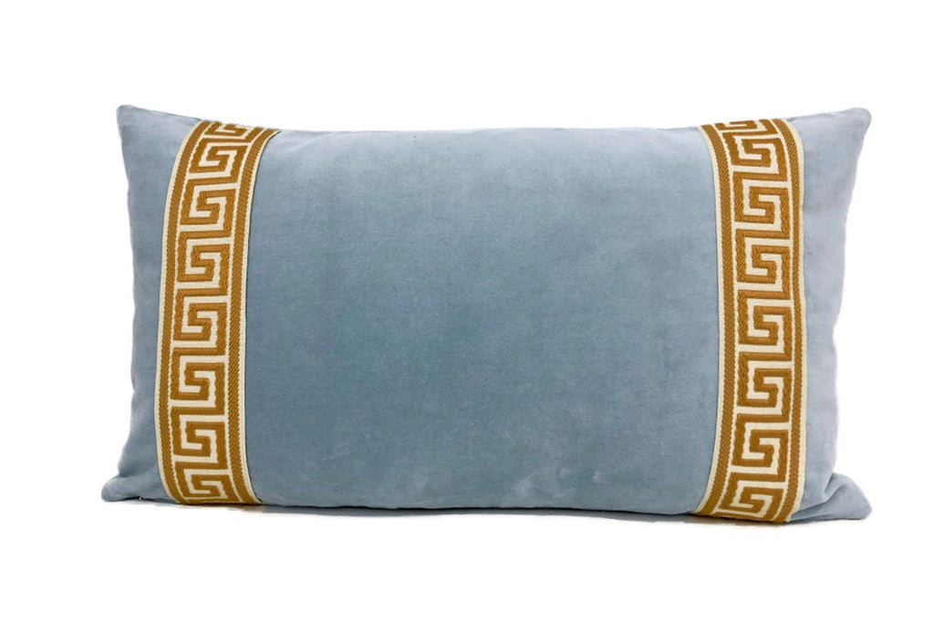 Light Blue Velvet Lumbar with Gold Greek Key Trim