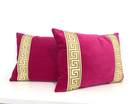 Fuchsia Velvet Lumbar with Gold Greek Key Trim
