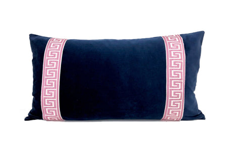 Navy Velvet with Pink Greek Key Trim