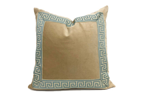 Tan Pillow with Mist Greek Key Trim