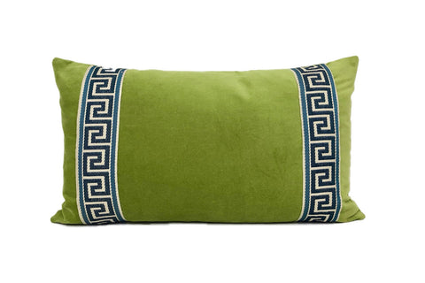 Green Velvet Lumbar with Navy Greek Key Trim