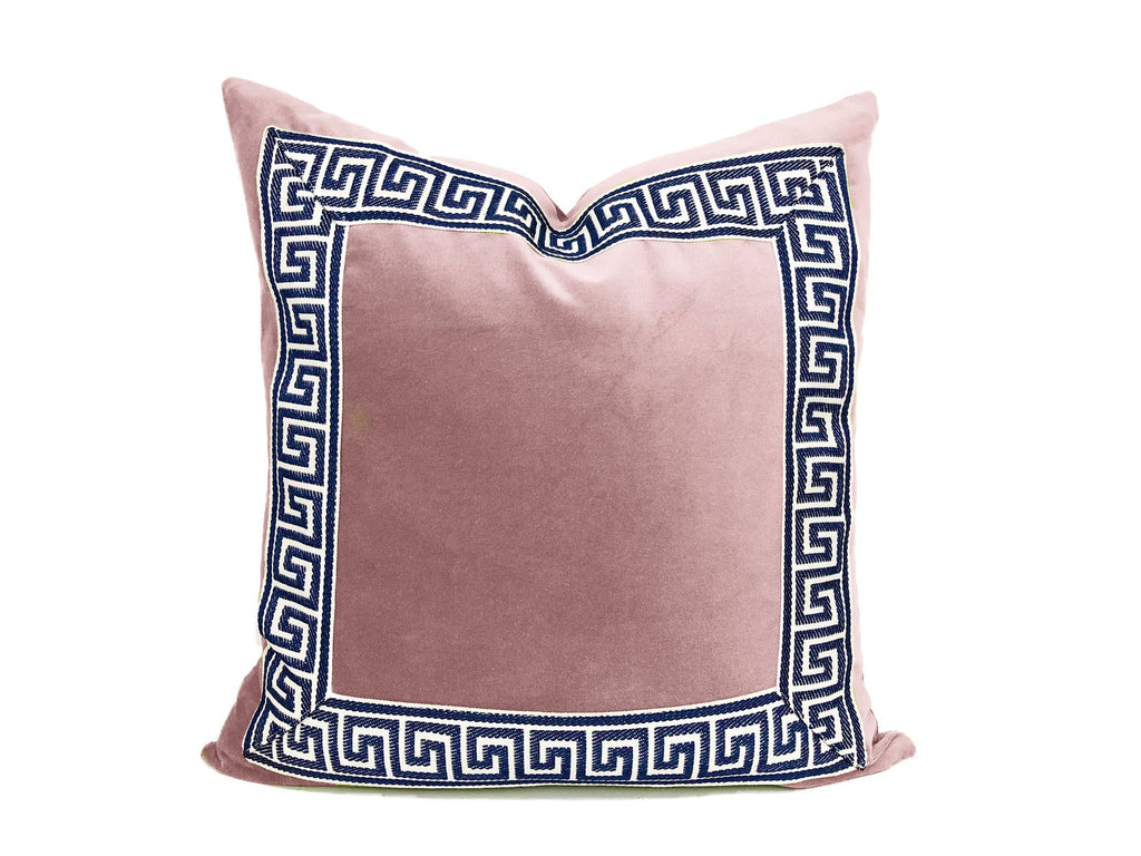 Light Pink Pillow with Navy and White Greek Key Trim