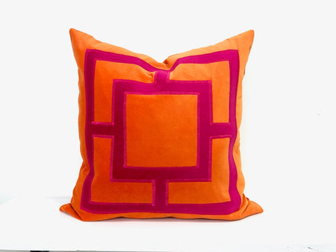 Orange Linen Pillow with Pink Applique