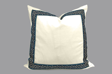 Off White Velvet Pillow with Navy Greek Key Trim