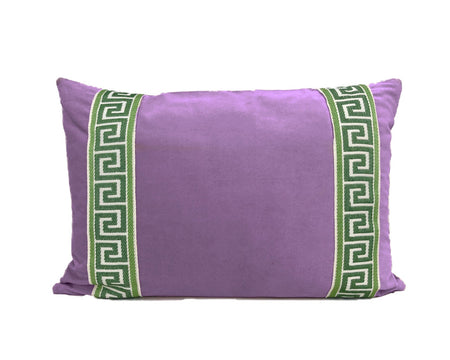 Purple Velvet Lumbar with Green Greek Key Trim