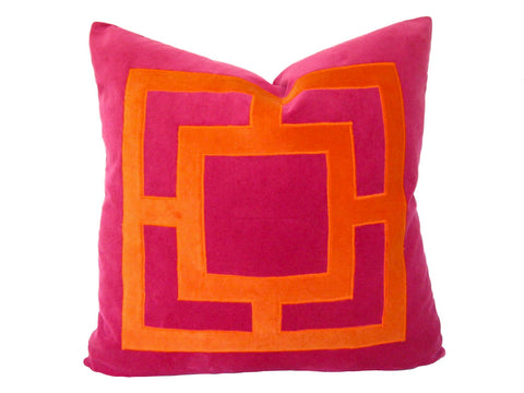 Pink Linen Pillow with Orange Applique