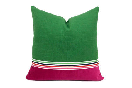 Pink and Green Linen Pillow with Grosgrain Trim