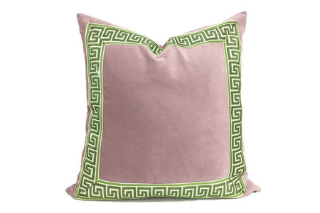 Soft Pink Pillow with Greek Key Tape