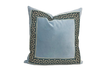Sky Blue Velvet Pillow with Navy and Off White Greek