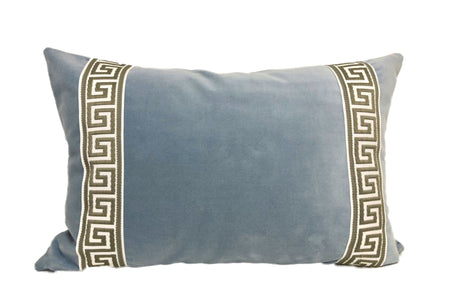 Light Blue Lumbar with Greek Key Tape