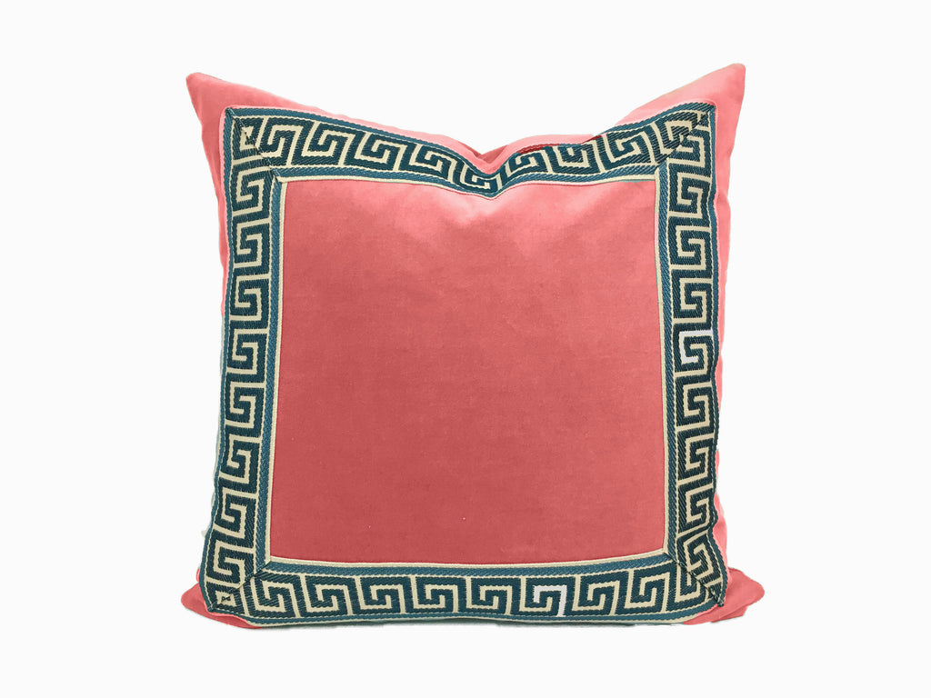 Coral Velvet Pillow with Navy and Off White Greek Key Trim
