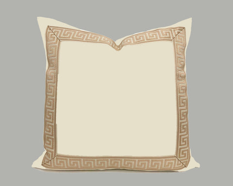 Off-White Velvet Pillow with Buff Greek Key Trim