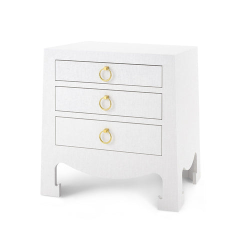 Jacqui 3-Drawer Side Table, White Grasscloth