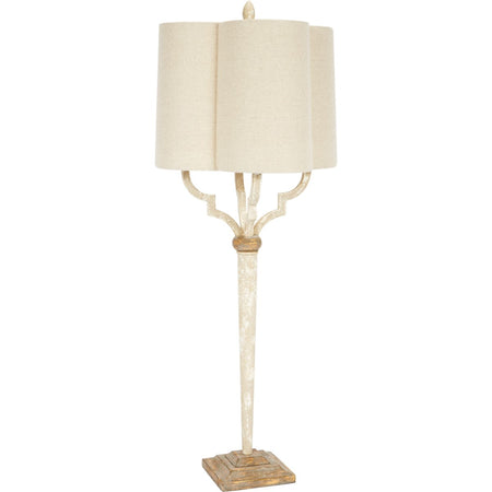 Lee French White and Gold Quatrefoil Buffet Lamp