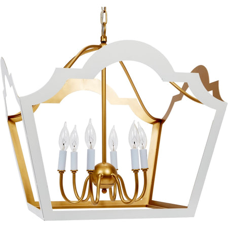 Jaclyn Glossy White and Gold Leaf Lantern