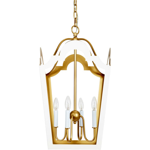 Jackie Glossy White and Gold Lantern