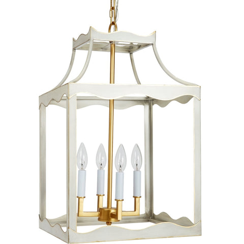Miriam Cream and Gold Metal Lantern