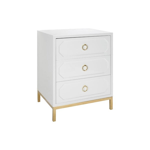 Penelope 3 Drawer Side Table with Brass Pull