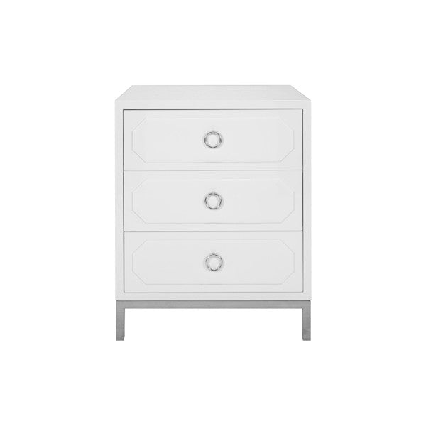 Penelope 3 Drawer Side Table with Nickel Pull