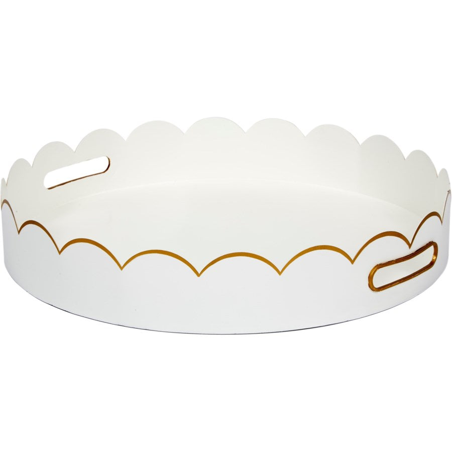 Eloise White and Gold Scalloped Tray