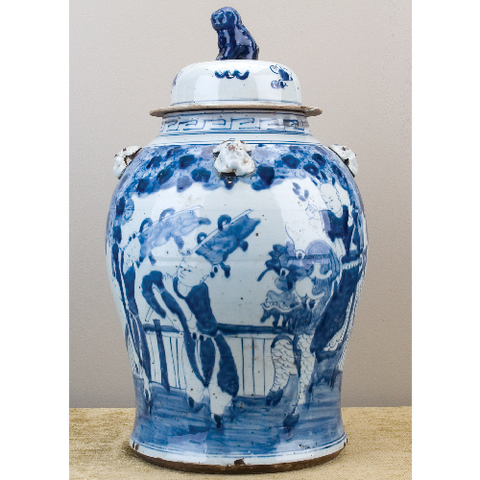 Large Blue and White Lidded Jar People Scene