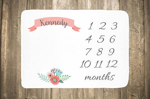 Floral with Banner Baby Monthly Milestone Blanket