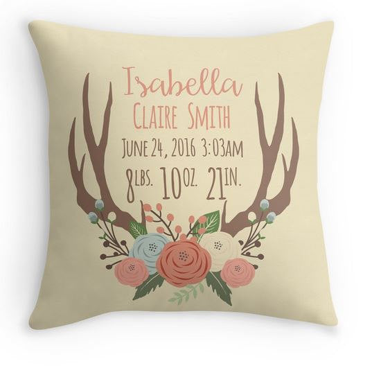 antler birth announcement pillow