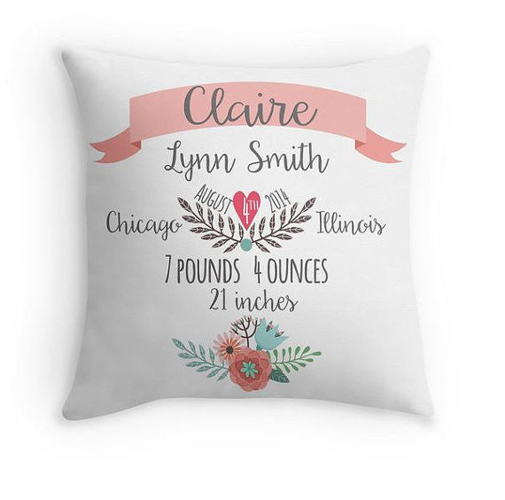 Personalized Baby Girl Birth Announcement Pillow