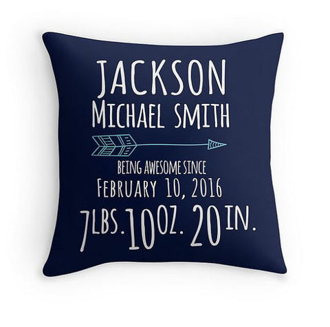 Personalized Arrow Birth Announcement Pillow