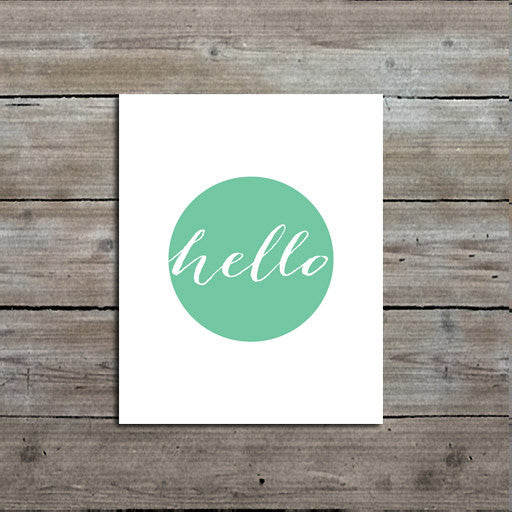 "Mint ""Hello"" Art Print, Modern, Chic, Minimalist Art"