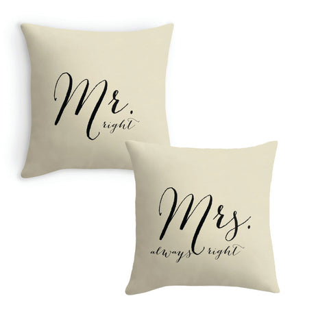 Mr. Right and Mrs. Always Right, Set of 2 Pillow Covers