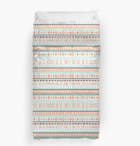 Mint & Coral Tribal Duvet Cover, Available in Twin, Queen, and King Sizes