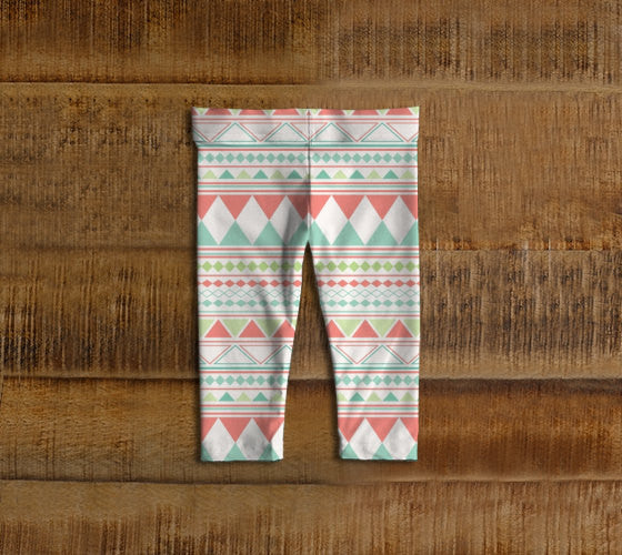 Pink & Green Tribal Baby Leggings, Toddler Leggings, Mint, Girl