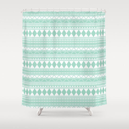 Mint Tribal Shower Curtain