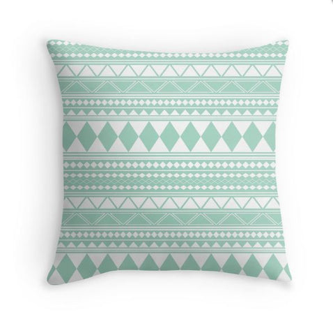 Mint Tribal Pillow Cover
