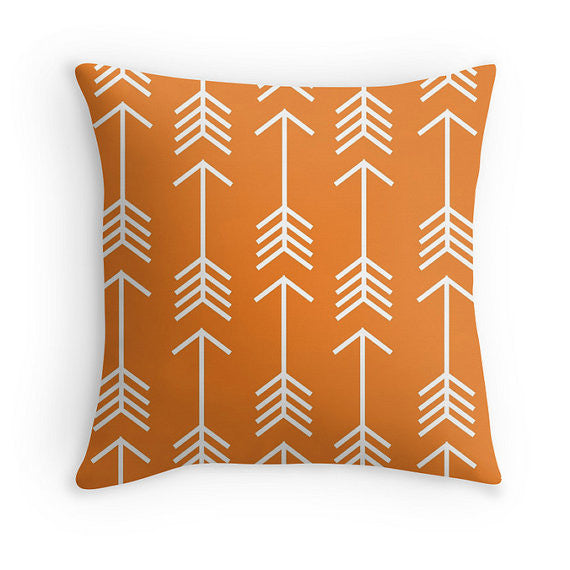 orange arrow pillow
