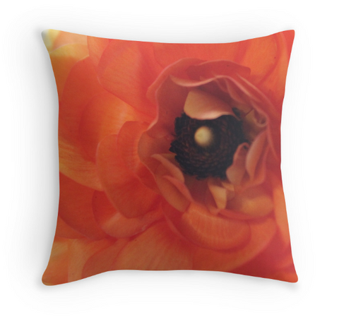 Orange Floral Pillow Cover