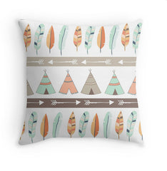 Mint & Coral Tribal Pillow Cover with Teepee and Feather Pattern