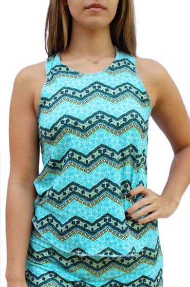 Aqua Chevron Fitness Tank Top