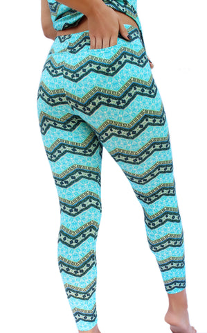 Aqua Chevron Fitness Leggings
