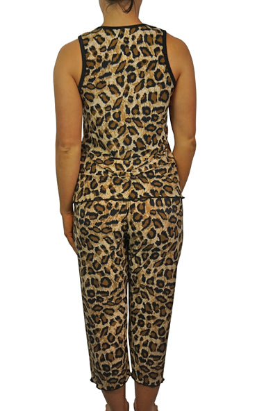 Cheetah Slinky Pajama Capris Pants Set