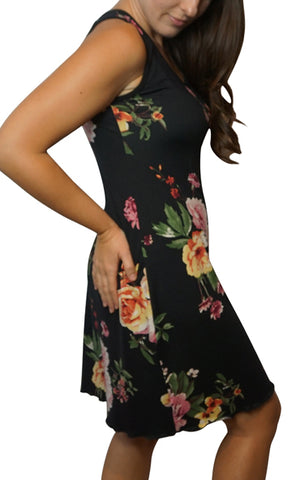 Black Floral Night Gown