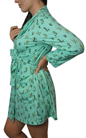 Mint Cactus Cozy Robe